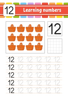 Learning numbers for kids. handwriting practice. education developing worksheet.