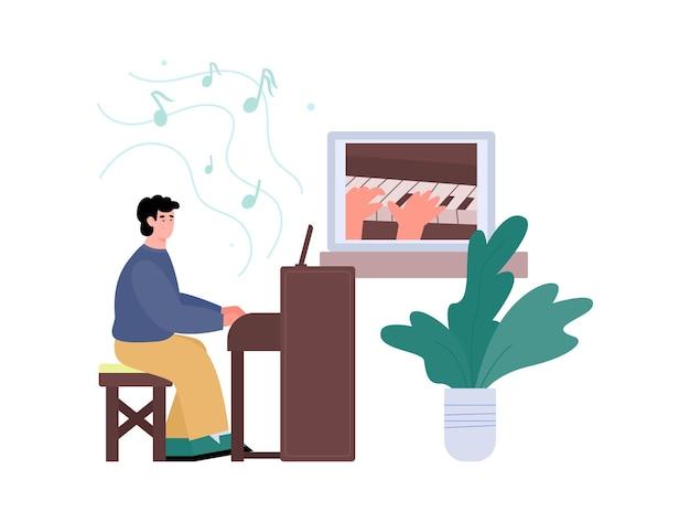비디오 온라인 음악 레슨 또는 인터넷 튜토리얼 피아노 연주 방법 배우기
