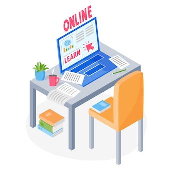 Learning online concept laptop papers books on table with chair studying online via the internet