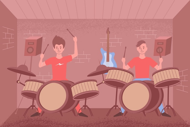 室内の風景と2つのドラムセットで演奏する人とスピーカーのイラストでパーカッションフラットコンポジションを学ぶ