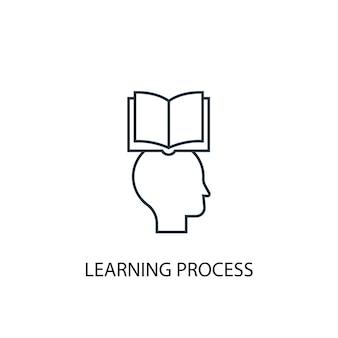학습 프로세스 개념 라인 아이콘입니다. 간단한 요소 그림입니다. 학습 과정 개념 개요 기호 디자인입니다. 웹 및 모바일 ui/ux에 사용할 수 있습니다.
