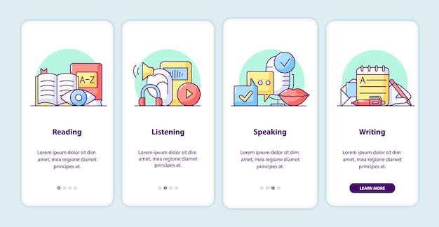 Learning process onboarding app screen pages. smartphone application walkthrough with cartoon illustrations. mobile ui template with 4 steps. user interface design with simple purple color concepts
