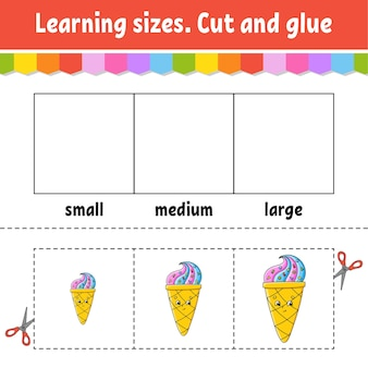 Learning sizes cut and glue