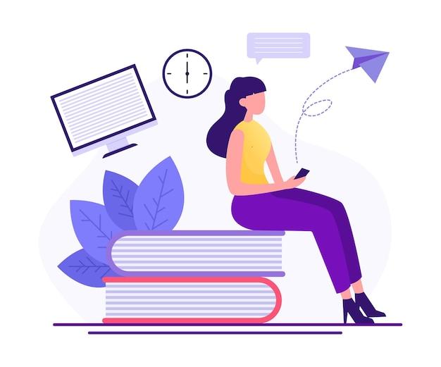 スマートフォンで学習学習オンライン概念イラスト