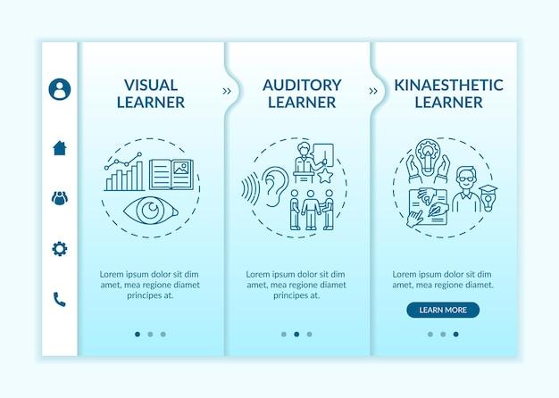 학습 스타일 온보딩 벡터 템플릿입니다. 아이콘이 있는 반응형 모바일 웹사이트입니다. 웹 페이지 연습 3단계 화면. 선형 삽화가 있는 학업 성취 색상 개념