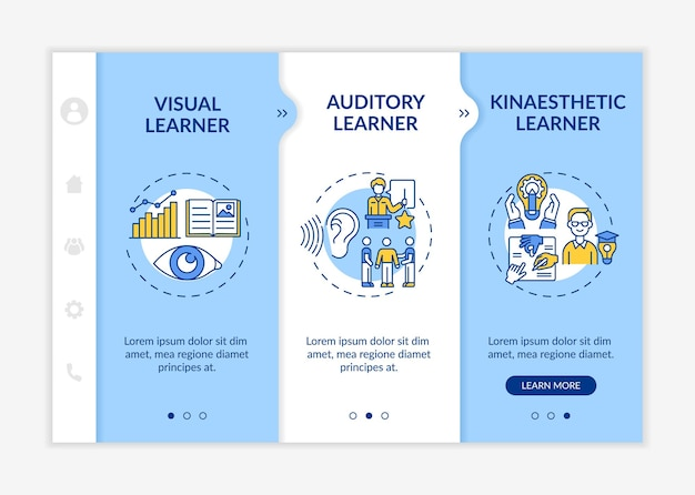 Learning styles types onboarding vector template. responsive mobile website with icons. web page walkthrough 3 step screens. accomplishments in education color concept with linear illustrations