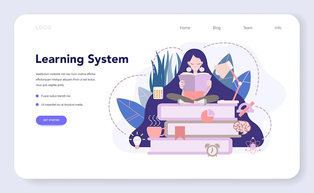 Learning system web banner or landing page, idea of study remotely