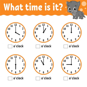 Learning time on the clock. educational activity worksheet for kids and toddlers. game for children.