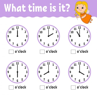 Learning time on the clock. educational activity worksheet for kids and toddlers.