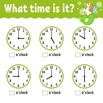 Learning time on the clock educational activity worksheet for kids and toddlers