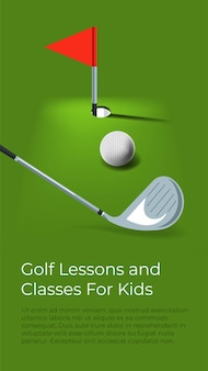 Учимся играть в гольф для детей. обучение детей и развитие навыков. соревновательные виды спорта, хобби и мероприятия на свежем воздухе. уроки и курсы, плакаты с информацией. вектор в плоском стиле