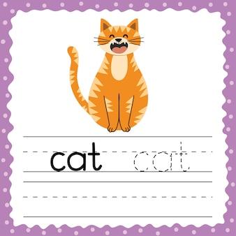 Учимся писать слова на карточках. слово из трех букв - кот. флэш-карта упражнений по отслеживанию с милым животным. рабочий лист письменной практики.