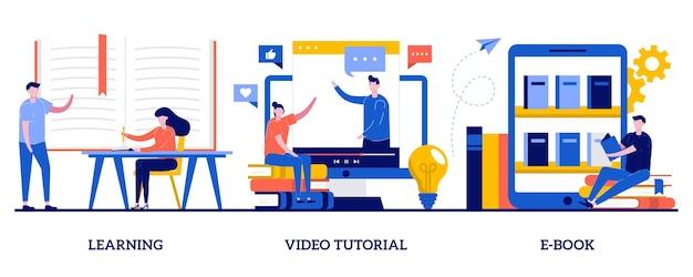 작은 사람들과 학습, 비디오 튜토리얼, 전자 책 개념. 교육 및 훈련 세트. 학교 도서관, 온라인 코스, 학생 숙제, 기억력 및 지식.