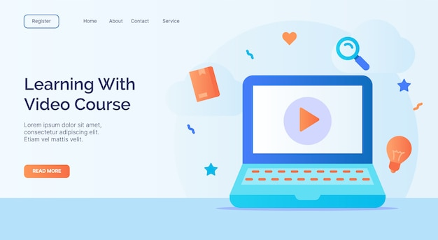 Learning with video course for campaign web website home homepage landing page template with filled color modern flat style design.