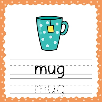 Learning to write word - mug. writing practice worksheet for kids. trace simple words flashcard for toddlers. vector illustration