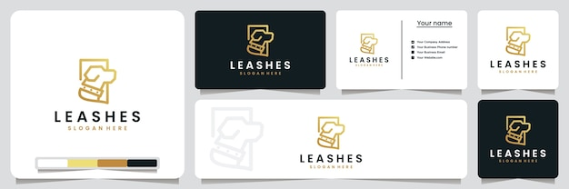 Leashes , dogs ,with line art style and gold color , logo design inspiration