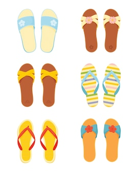 Комплект летних тапочек из кожи и силикона. женские пляжные тапочки и шлепанцы в плоский стиль, изолированные на белом фоне.