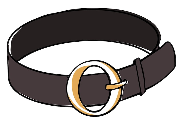 Leather belt with golden clasp modern accessories Premium Vector