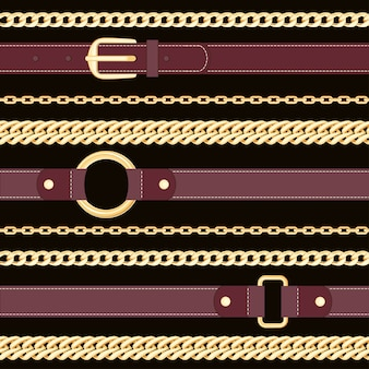 Leather belts and golden chains on  black background seamless pattern