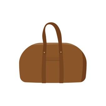 Кожаная сумка boston плоский дизайн иллюстрации изолированы