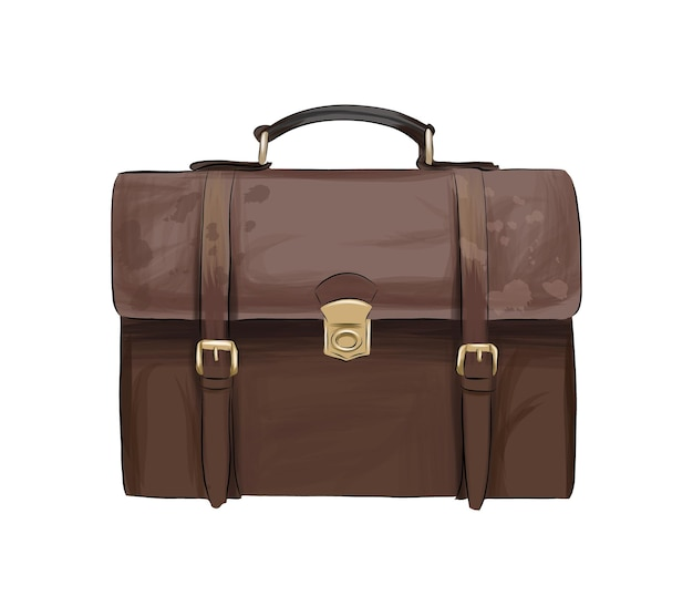 Leather brown men briefcase from multicolored paints splash of watercolor colored drawing