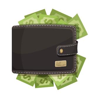 Leather dark brown wallet