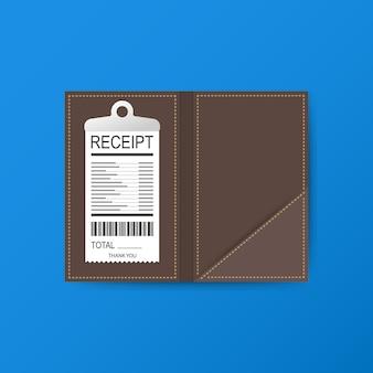 현금, 동전 및 출납원 확인을위한 가죽 폴더.