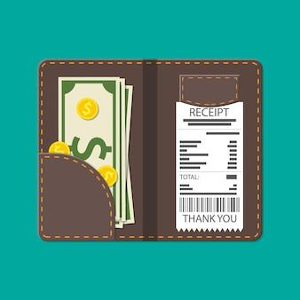 현금, 동전, 계산원 수표가 있는 가죽 폴더. 레스토랑 서비스에 감사드립니다. 서비스 비용입니다. 웨이터에 대한 좋은 피드백. 팁 개념입니다. 평면 스타일의 벡터 일러스트 레이 션