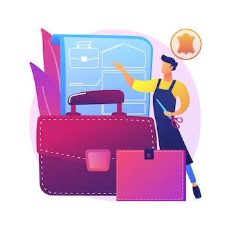 Кожаное ремесло абстрактное понятие иллюстрации. изделия ручной работы, одежда из натуральной кожи, дизайнерские сумки и обувь, товары ручной работы, интернет-магазин, самодельные изделия
