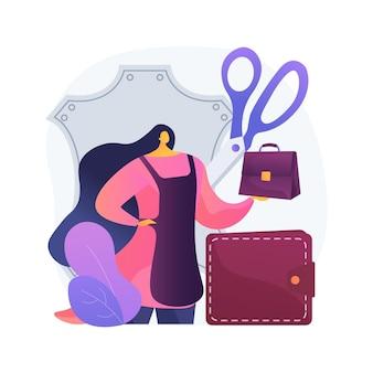 가죽 공예 추상적 인 개념 그림입니다. 수제 제품, 가죽 의류, 디자이너 가방 및 신발, 수공예품, 온라인 상점, 자체 제작 품목