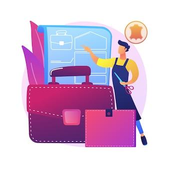 Illustrazione di concetto astratto di artigianato in pelle. prodotto artigianale, abbigliamento in vera pelle, borse e calzature firmate, prodotti artigianali, negozio online, articoli fatti in casa