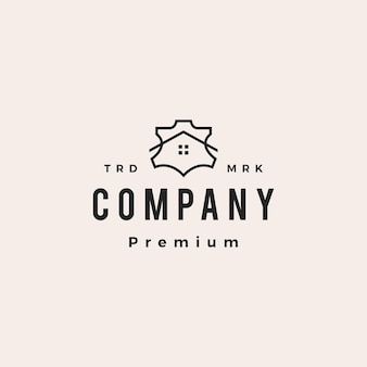 Leather house genuine synthetic hipster vintage logo vector icon illustration