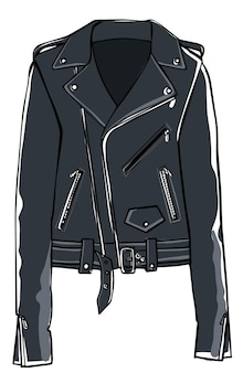 Leather jacket with belts and clasps fashion