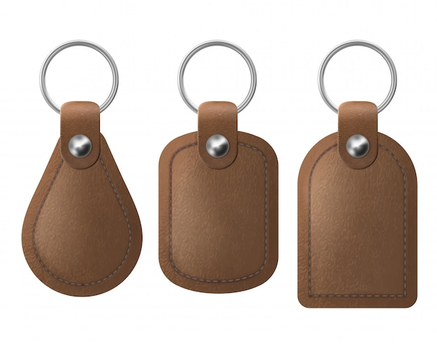 Leather keychains, brown keyring holders set.