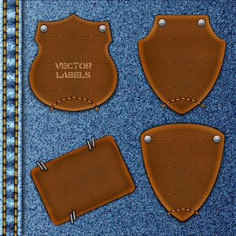 Leather labels on denim collection