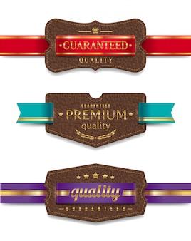 リボン付き革品質ラベル