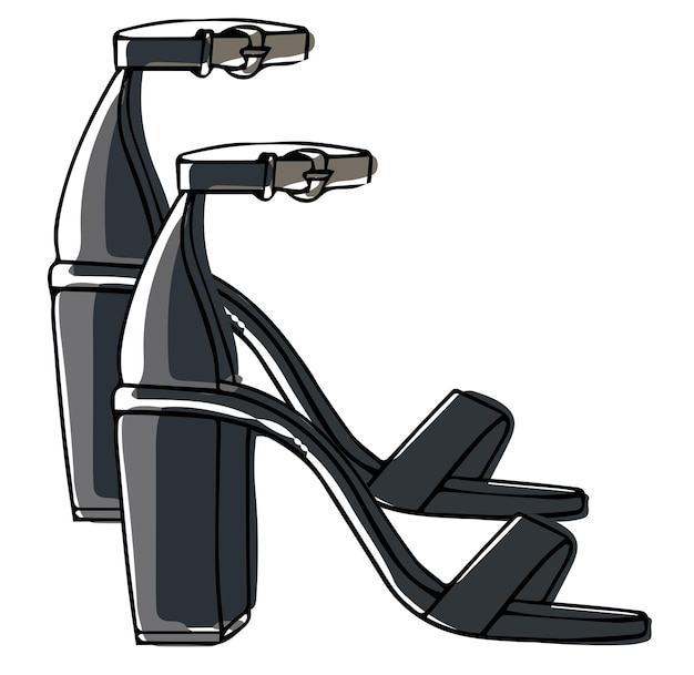 Leather sandals on heel with straps footwear