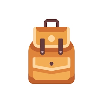 Leather school kid backpack flat icon. back to school illustration