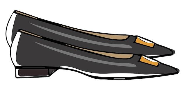 일상적인 사용을 위한 평평한 플랫폼의 가죽 신발, 장식용 버클이 있는 분리된 신발. 여성을 위한 액세서리와 의류, 캐주얼한 룩과 트렌디한 시크한 의상. 벡터 일러스트 레이 션