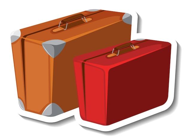 革のスーツケース漫画のステッカー