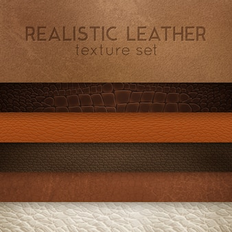 Leather texture realistic samples set