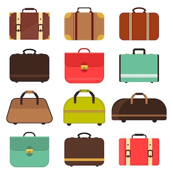 Leather travel bag vector.