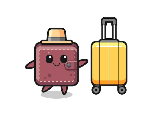 Leather wallet cartoon illustration with luggage on vacation