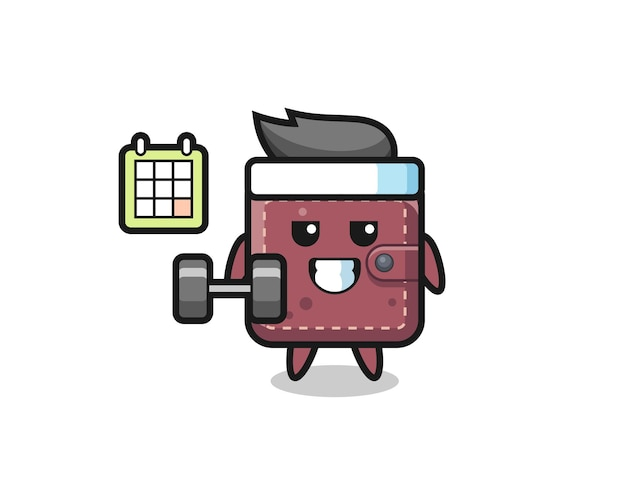 Leather wallet mascot cartoon doing fitness with dumbbell