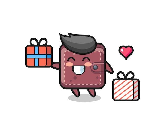 Leather wallet mascot cartoon giving the gift