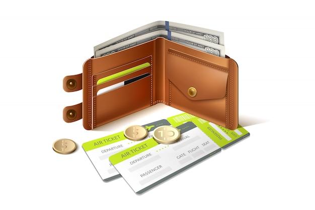 Кожаный кошелек с банкнотами, монетами и авиабилетом