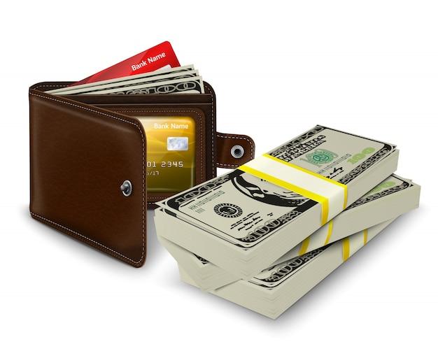 신용 카드 및 은행권이있는 가죽 지갑