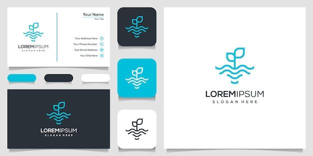 線画で葉と水の波のロゴ。波と自然のロゴ。ロゴデザインと名刺