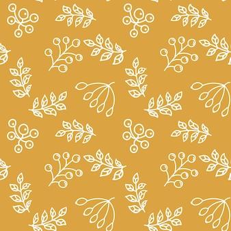 선형 스타일 끝없는 식물 배경에서 잎과 열매 원활한 패턴 벡터 일러스트 레이 션