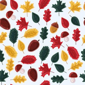 Листья, грибы и желуди